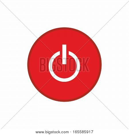 Power off red button icon isolated on white background