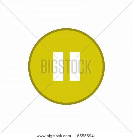 Pause yellow button icon vector design isolated on white background