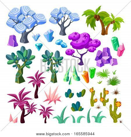 Cartoon landscape elements collection with  trees minerals crystals stones cactuses bushes for game design isolated vector illustration