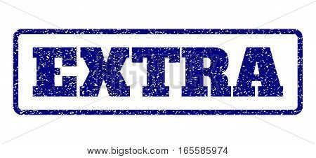 Navy Blue rubber seal stamp with Extra text. Vector message inside rounded rectangular banner. Grunge design and dirty texture for watermark labels. Horisontal sticker on a white background.
