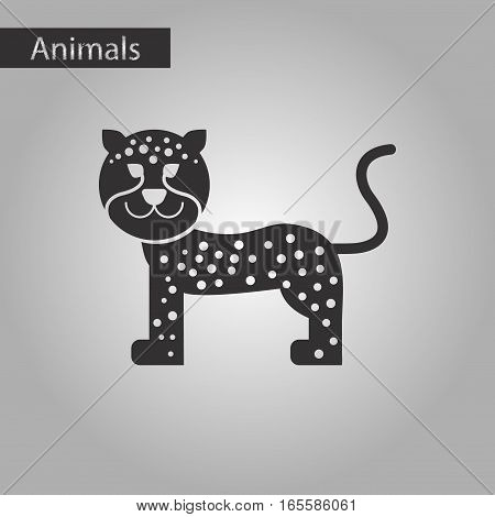 black and white style icon of leopard