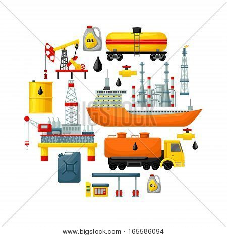 Oil extraction concept with colorful industrial transportation manufacturing elements and icons isolated vector illustration