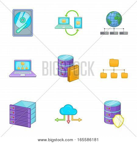 Hosting technology computer network service icons set. Cartoon illustration of 9 hosting technology computer network service vector icons for web
