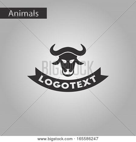 black and white style icon of bull logo