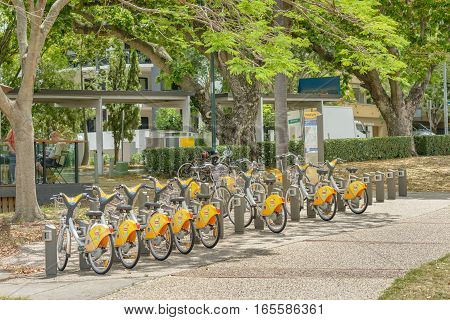 BRISBANE AUSTRALIA - NOVEMBER 19 2016: Brisbane CityCycle hire station at New Farm Park in the east of the city.