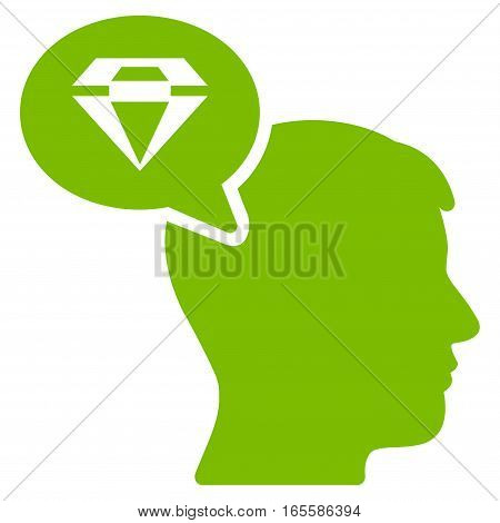 Diamond Thinking vector icon. Flat eco green symbol. Pictogram is isolated on a white background. Designed for web and software interfaces.
