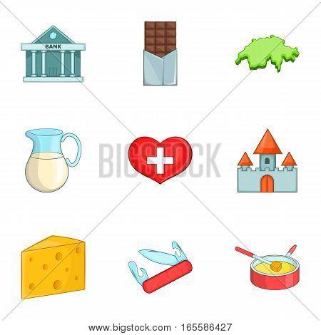 Switzerland travel icons set. Cartoon illustration of 9 Switzerland travel vector icons for web