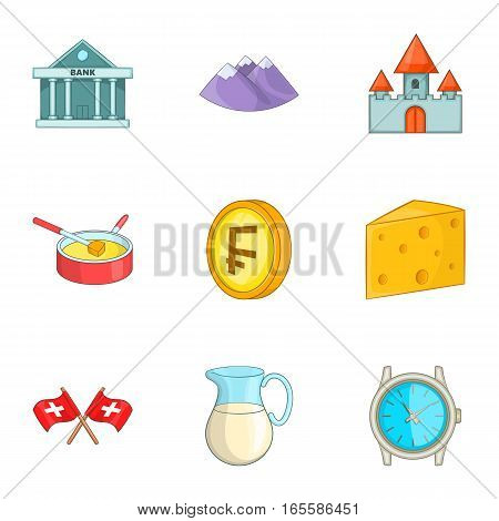 Switzerland national cultural symbols icons set. Cartoon illustration of 9 Switzerland national cultural symbols vector icons for web