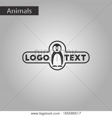 black and white style icon of penguin logo