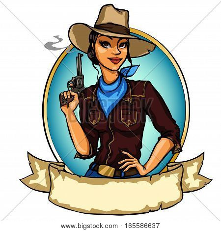 Pretty Cowgirl Holding Smoking Gun
