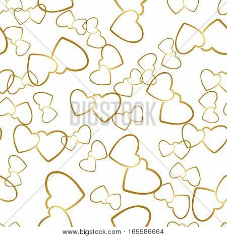 Two hearts seamless pattern. Golden pairs of heart symbols randomly placed on white background. Romantic wrapping texture for Valentine day gift or greeting card design. Vector eps8 illustration.