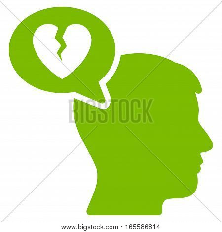 Divorce Thinking Man vector icon. Flat eco green symbol. Pictogram is isolated on a white background. Designed for web and software interfaces.