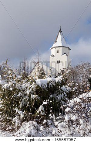 Totenberg cemetery and the Peterskirche in Heidenheim an der Brenz (Baden-Wurttemberg Germany) in winter.