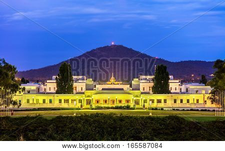 Old Parliament House in Canberra. It was the seat of the Parliament of Australia from 1927 to 1988
