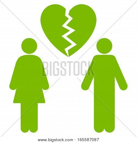 Family Divorce vector icon. Flat eco green symbol. Pictogram is isolated on a white background. Designed for web and software interfaces.