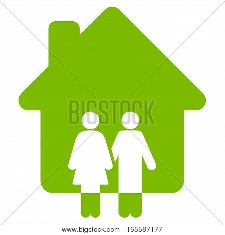 Family House vector icon. Flat eco green symbol. Pictogram is isolated on a white background. Designed for web and software interfaces.