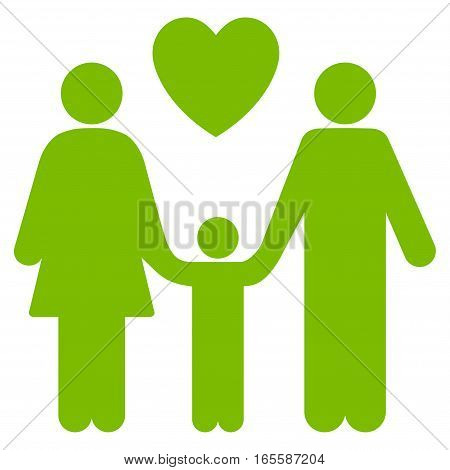 Family Love vector icon. Flat eco green symbol. Pictogram is isolated on a white background. Designed for web and software interfaces.
