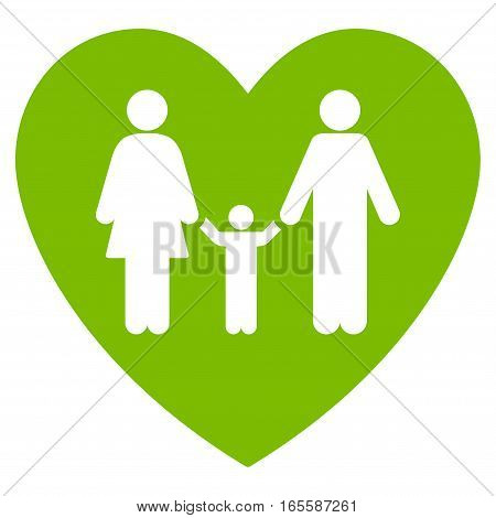 Family Love Heart vector icon. Flat eco green symbol. Pictogram is isolated on a white background. Designed for web and software interfaces.