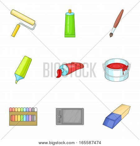 Art supplies icons set. Cartoon illustration of 9 art supplies vector icons for web