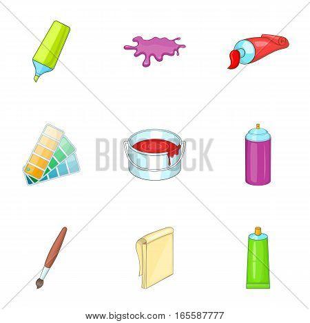 Art and craft symbol icons set. Cartoon illustration of 9 art and craft symbol vector icons for web