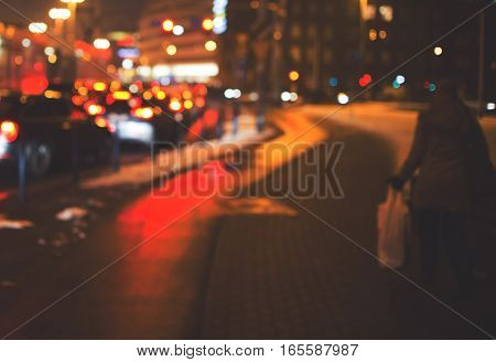 Night Road In The City, Cars Light In Traffic Jams, Defocused, Vintage Effect