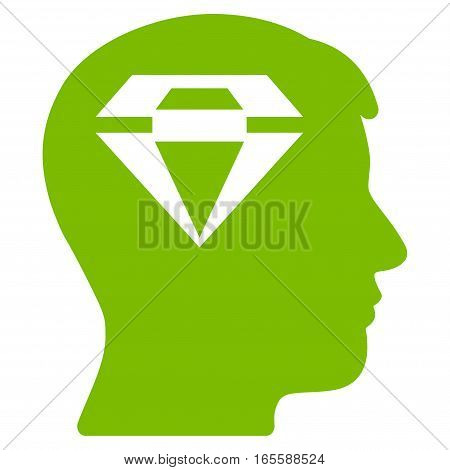 Human Head With Diamond vector icon. Flat eco green symbol. Pictogram is isolated on a white background. Designed for web and software interfaces.