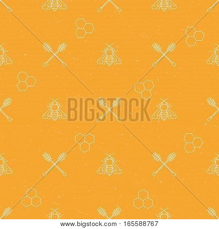 Seamless pattern collection - vector background with honey and bee elements.