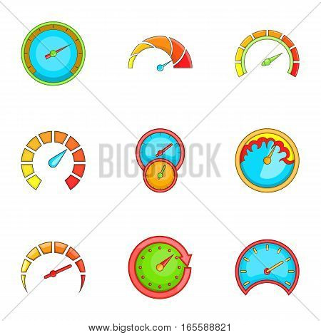 Meter icons set. Cartoon illustration of 9 meter vector icons for web