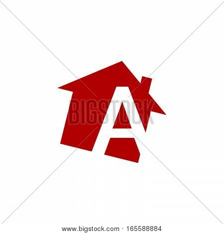 initial letter logo house alphabet A red color