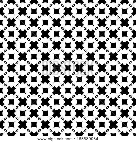Vector seamless pattern, abstract monochrome geometric background. Simple black & white figures, crosses, triangles, rhombuses, squares. Repeat tiles. Design element for decoration, prints, textile, digital, web