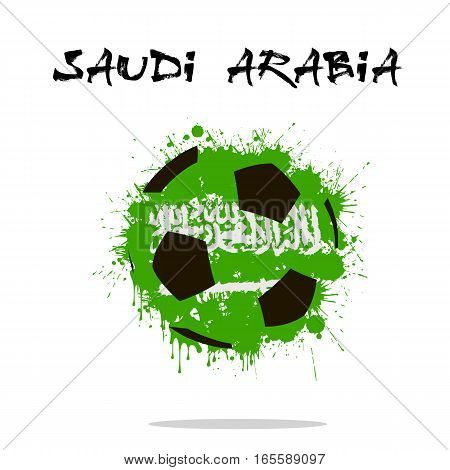 Abstract soccer ball painted in the colors of the Saudi Arabia flag. Vector illustration