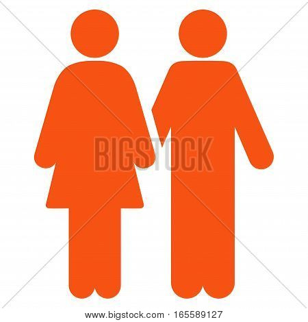 Adult Pair vector icon. Flat orange symbol. Pictogram is isolated on a white background. Designed for web and software interfaces.