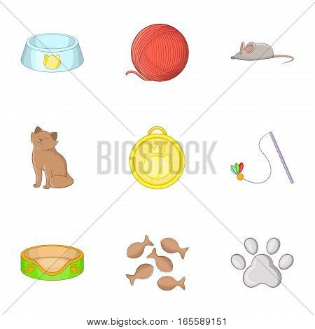 Equipment for the care of pets icons set. Cartoon illustration of 9 equipment for the care of pets vector icons for web