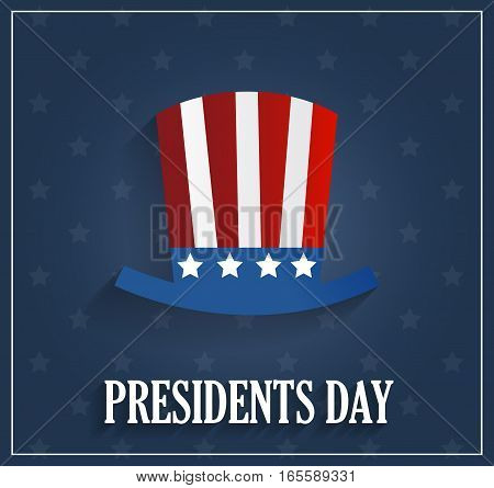 Presidents day poster with hat on blue background. Vector illustration.