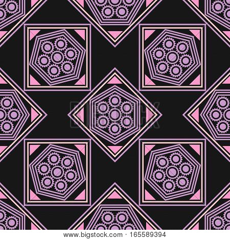 Seamless geometric pattern, pink purple rhombus and a square with a flower on a black background, vector illustration