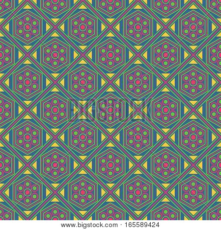 Seamless geometric pattern, pink green diamond with flower, vector illustration