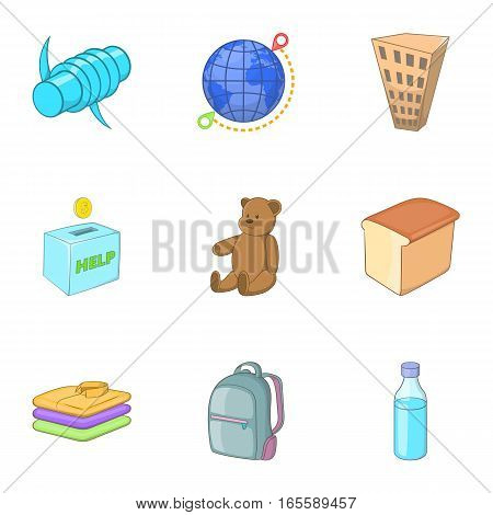 Refugee crisis icons set. Cartoon illustration of 9 refugee crisis vector icons for web