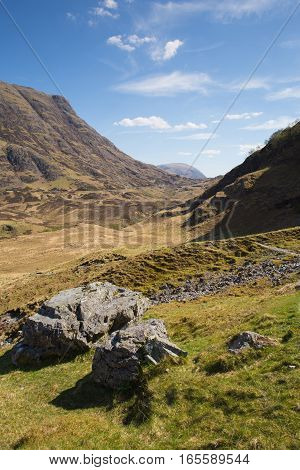 Scotland with sunshine Glencoe UK stunning beautiful Scottish glen in Lochaber famous tourist destination