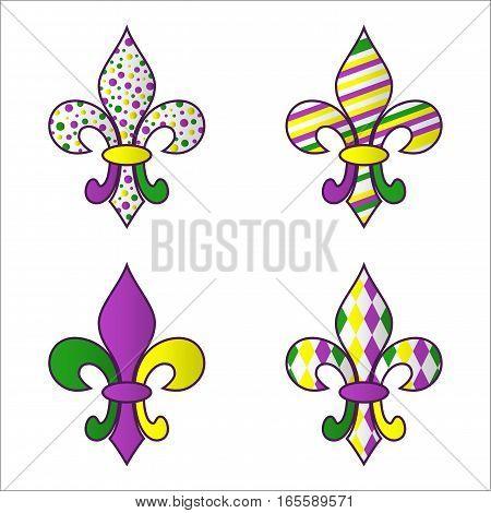 Set of four bright multicolored Mardi Gras symbols. Fleur de Lys. Vector elements for design and art.