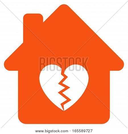Divorce House Heart vector icon. Flat orange symbol. Pictogram is isolated on a white background. Designed for web and software interfaces.