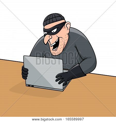 Concept of hacking. Cartoon thief trying to hack personal information. Vector EPS10 illustration.