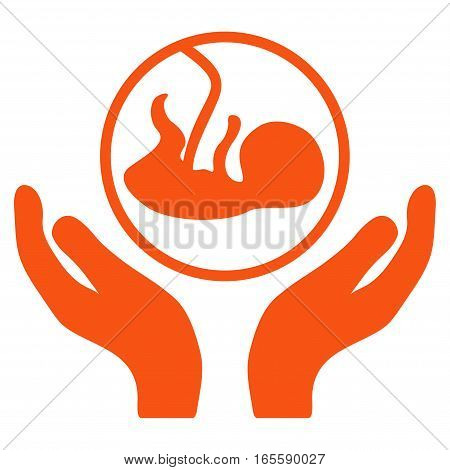 Embryo Care Hands vector icon. Flat orange symbol. Pictogram is isolated on a white background. Designed for web and software interfaces.