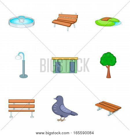 Park icons set. Cartoon illustration of 9 park vector icons for web