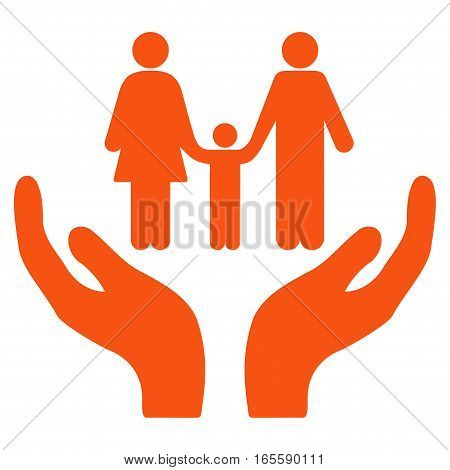 Family Care Hands vector icon. Flat orange symbol. Pictogram is isolated on a white background. Designed for web and software interfaces.