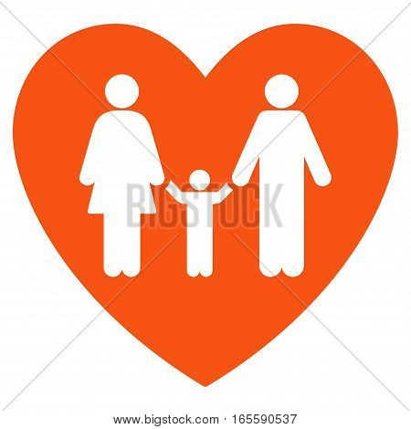 Family Love Heart vector icon. Flat orange symbol. Pictogram is isolated on a white background. Designed for web and software interfaces.