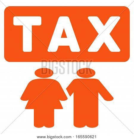 Family Tax Pressure vector icon. Flat orange symbol. Pictogram is isolated on a white background. Designed for web and software interfaces.