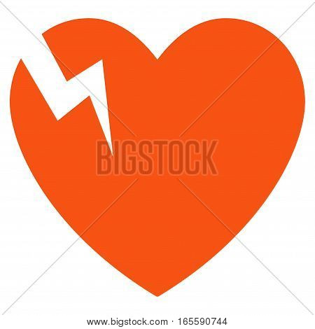 Heart Crack vector icon. Flat orange symbol. Pictogram is isolated on a white background. Designed for web and software interfaces.
