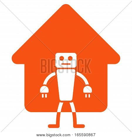 Home Robot vector icon. Flat orange symbol. Pictogram is isolated on a white background. Designed for web and software interfaces.