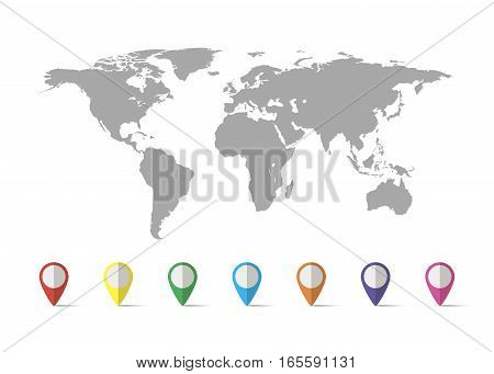 World map grey vector photo free trial bigstock world map grey colored on a white background with pin gumiabroncs Images