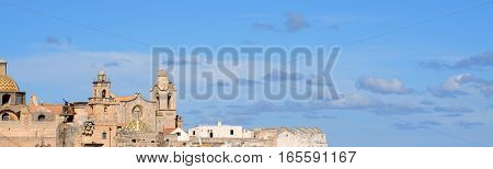 View on Ostuni Cathedral and roofs Italy Europe with beautiful sky and copy space